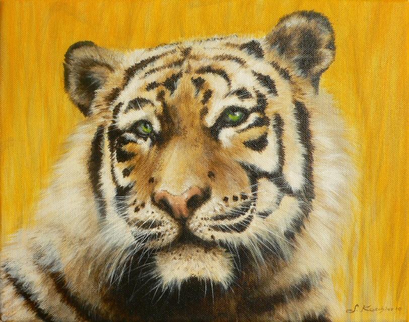 Krafttier Tiger gemalt