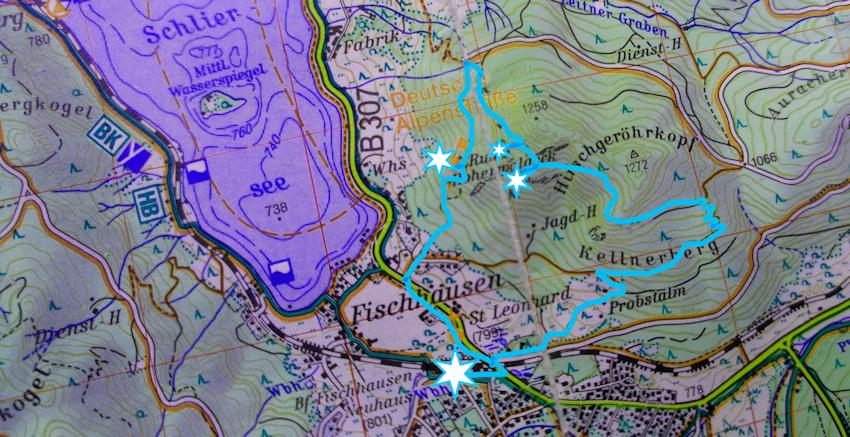 Wanderung ohne Auto: zur römischen Burgruine über dem Schliersee