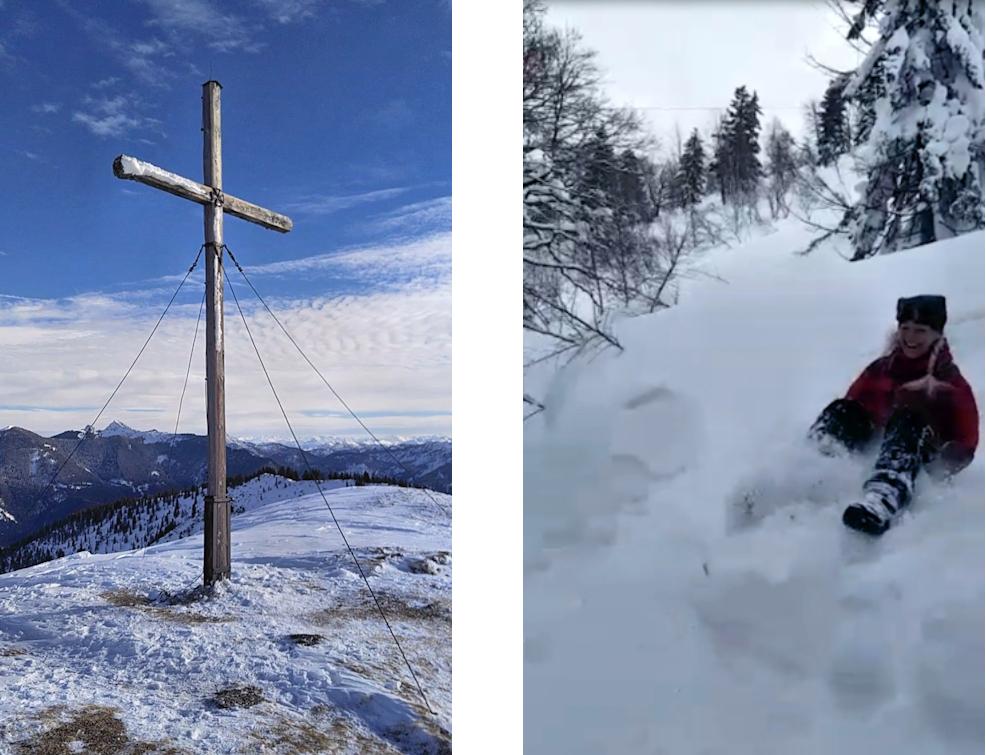Spannende Winterwanderung mit Rodel zum Hirschberg