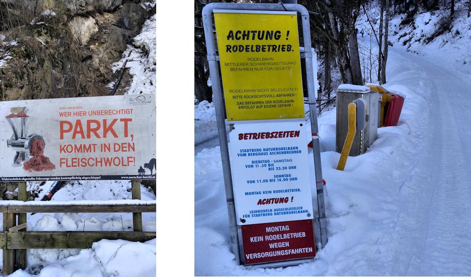 Winterwanderung mit Rodel: zum Venedigerblick hinterm Aschenbrenner Haus
