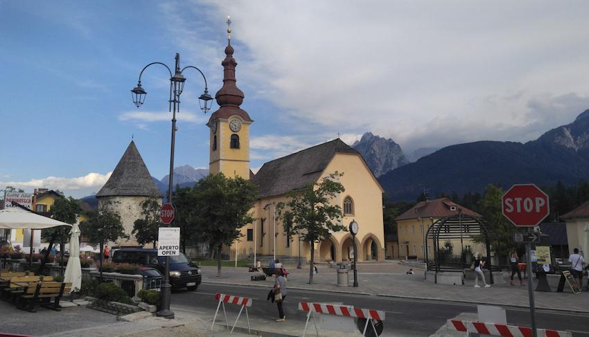 Tarvisio oder Tarvis Etappenziel des Alpe Adria Radweges