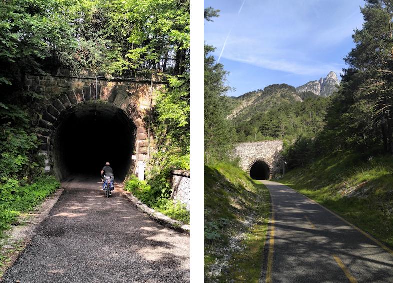 Tunnel Durchfahrungen auf dem Alpe Adria Radweg