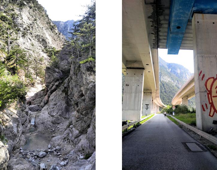 Alpe Adria Radweg: Tarvis - Venzone, Wasserfall und Autobahn