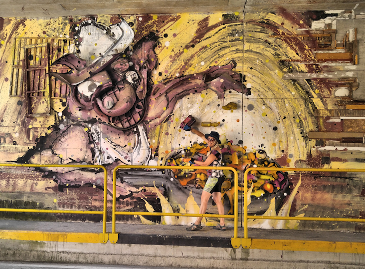 Streetart von Bordalo 2 in der Unterführung von Gemona