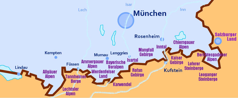 Einteilung der Gebiete in den Alpen