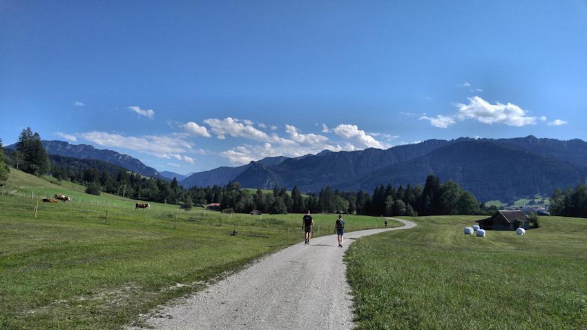Wanderung ohne Auto: Super Panorama vom grünen Hörnle