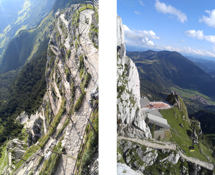 Die vielen Serpentinen des künstlichen Panoramaweges zum Gipfel