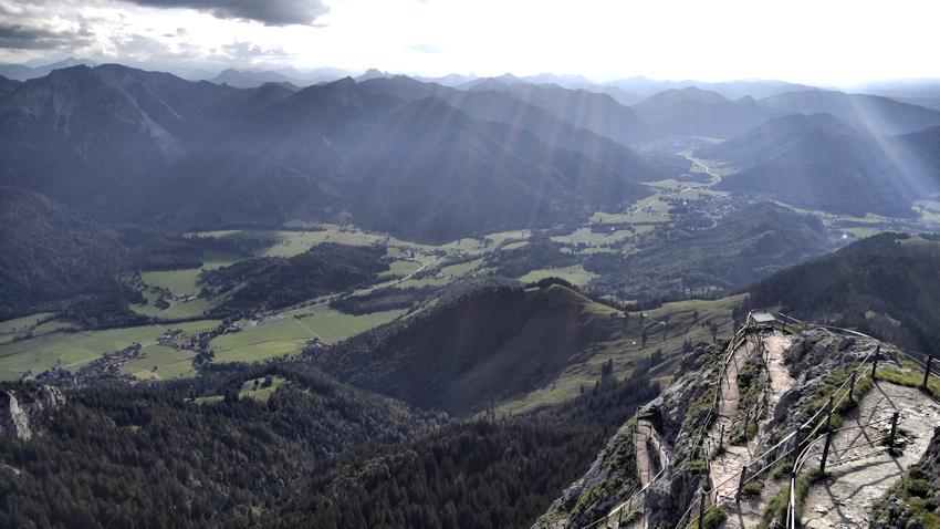 Panorama Blick nach Westen vom Gipfel des Wendelstein