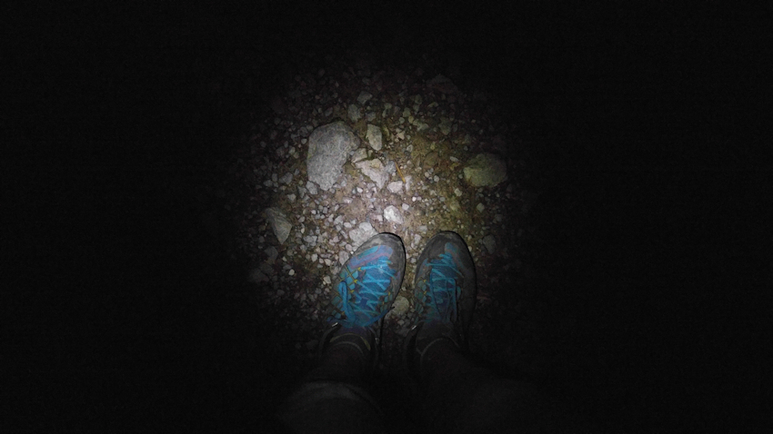Abstieg von der Kesselalm allein in dunkler Nacht