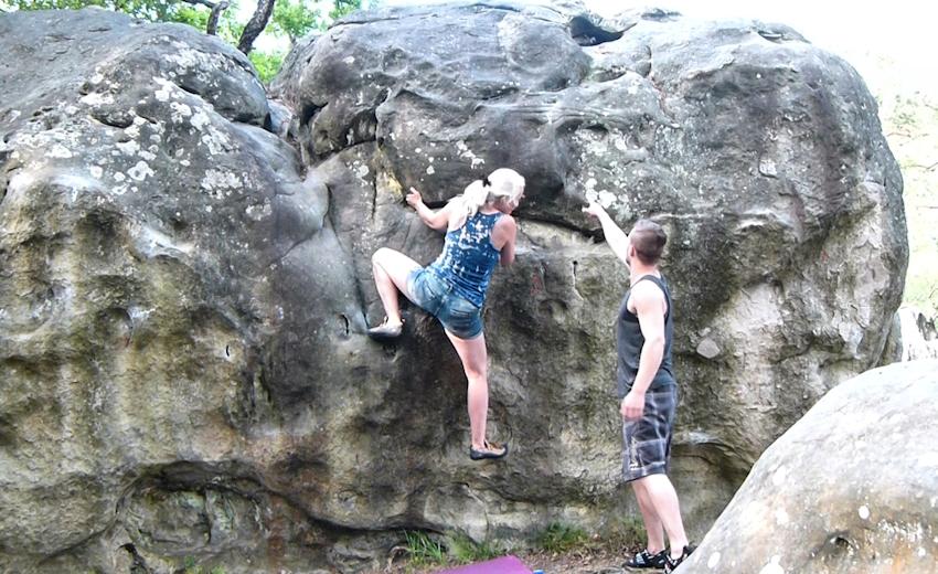 Bouldern in Canche aux Merciers nahe Fontainebleau
