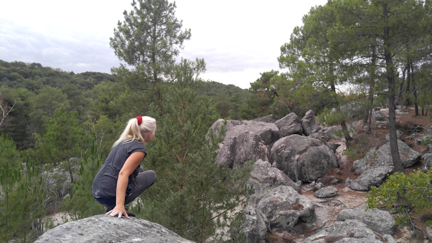 An der Hangkante über dem Elefanten Bouldergebiet