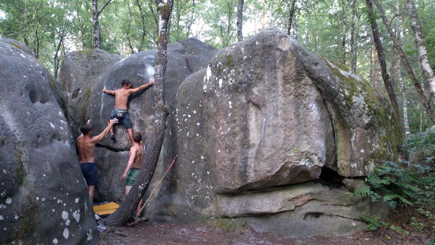 Franchard Isatis Fontainebleau Bouldern im weißen Parcours