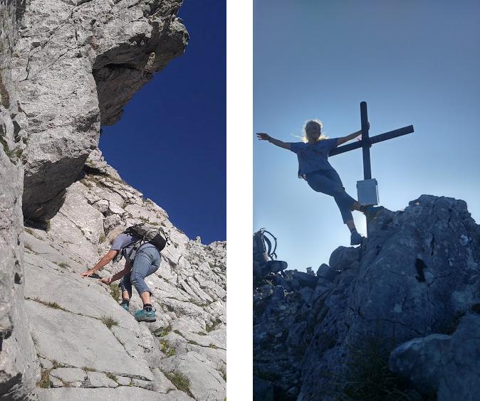Leichte Kletterei zum Gipfel des Lechnerkopfd