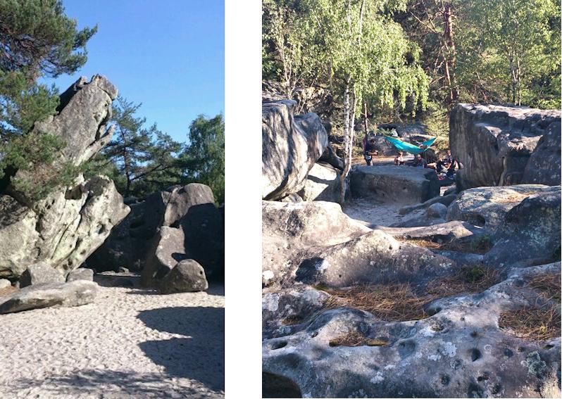 Bouldern am Diplodocus im Wald von Fontainebleau