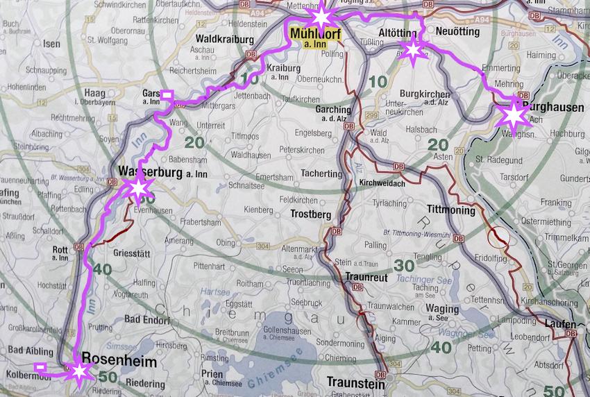 Innradweg: von Wasserburg nach Mühldorf