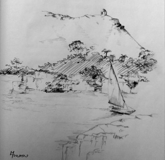 Zeichnung mit Nil und Felsengräbern