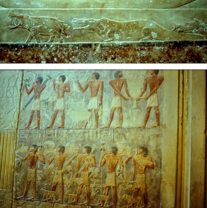 Berühmte Flachreliefs in den Grabanlagen von Sakkara