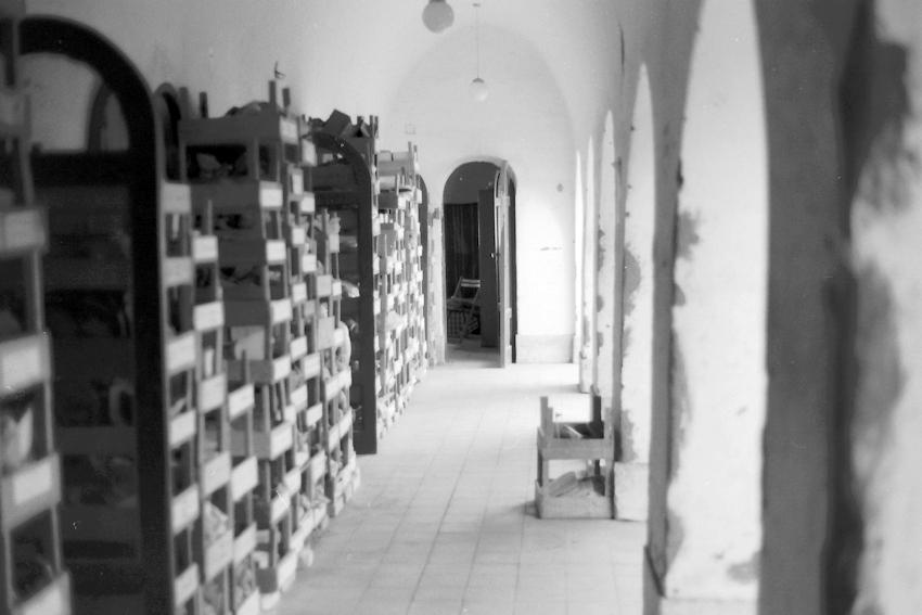 Regale voller Funde im Grabungshaus