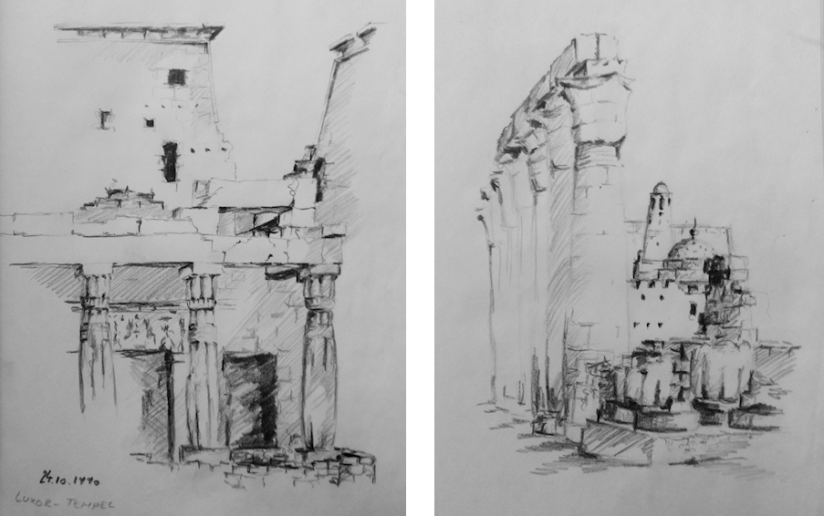 Zeichnungen des Tempels von Luxor