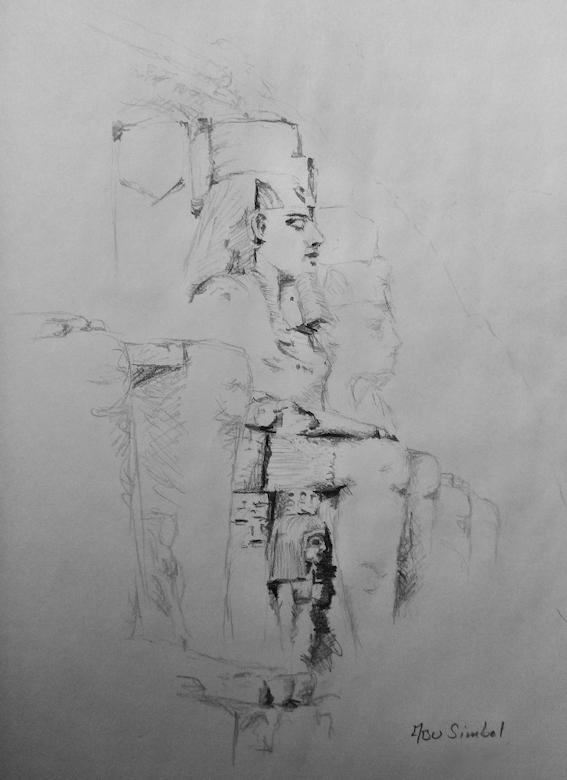 Zeichnung der Kolosse von Abu Simbel