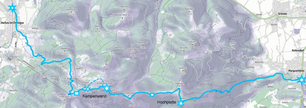 Durchschreitung von Hochplatte und Kampenwand auf abenteuerlichen Pfaden von Marquartstein nach Aschau im Chiemgau