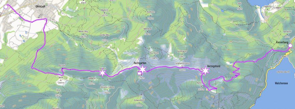 Wanderung ohne Auto: Überschreitung von Herzogstand und Heimgarten