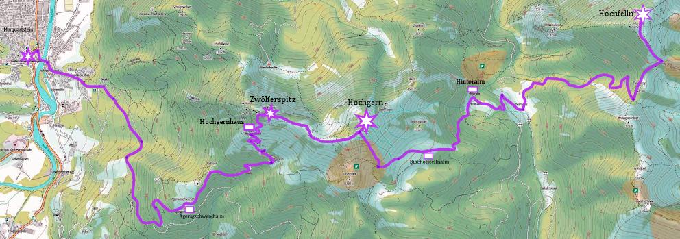 Überschreitung 2.Teil:  vom Hochfelln zum Hochgern und hinunter nach Marquartstein