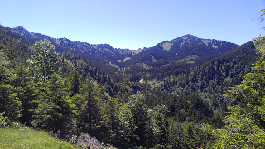 Blick vom Steckenbergkreuz zum Pürschling