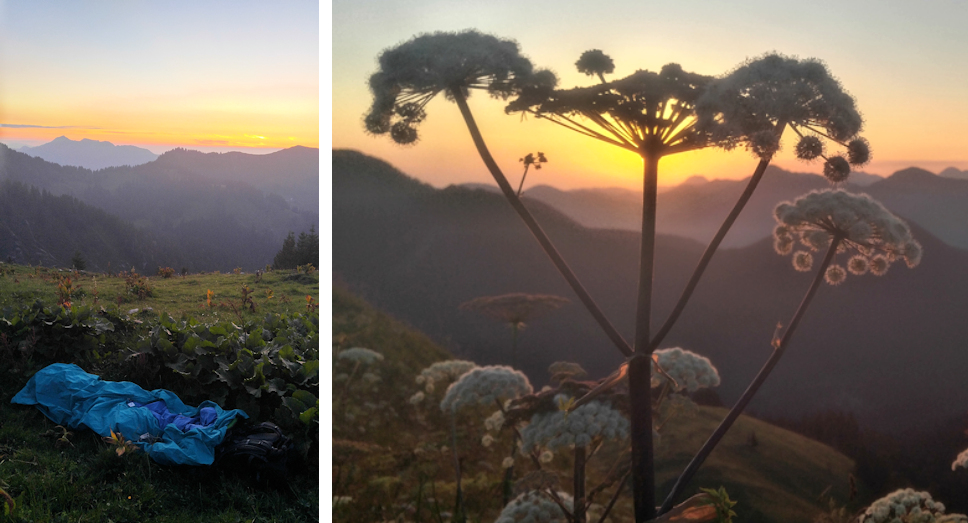 Biwak mit Sonnenaufgang am Berg Gipfel