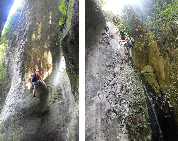 Klettersteig durch die enge Klamm des Rio Sallagoni