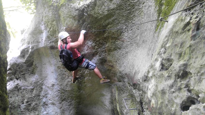 C Schlüsselstelle des Klettersteig Rio Salagoni