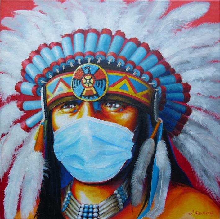 Kunst Malerei eines Indianer Häuptling mit Corona Maske der Künstlerin Sabine Koschier